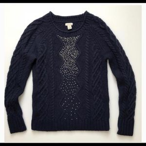 J.Crew Embellished Cable Knit Sweater